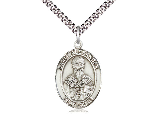 Sterling Silver St Alexander Sauli Pendant on a 24 inch Light Rhodium Heavy Curb Chain. - Unique Catholic Gifts