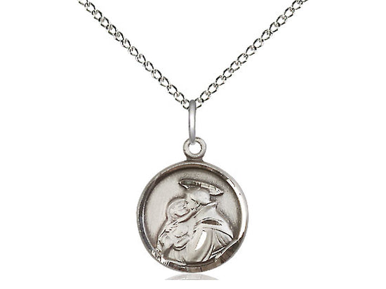 Sterling Silver St Anthony Pendant on a 18 inch Sterling Silver Light Curb Chain. - Unique Catholic Gifts