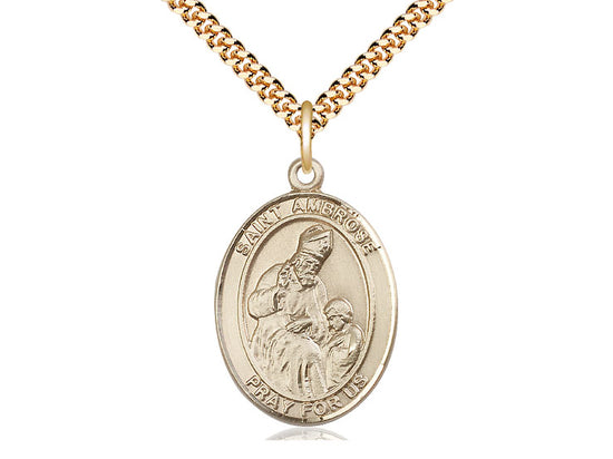 14kt Gold Filled St Ambrose Pendant on a 24 inch Gold Plate Heavy Curb Chain. - Unique Catholic Gifts