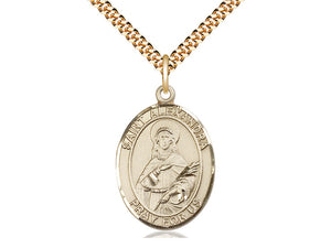 14kt Gold Filled St Alexandra Pendant on a 24 inch Gold Plate Heavy Curb Chain. - Unique Catholic Gifts