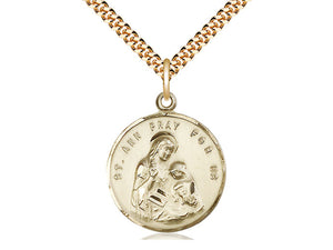 14kt Gold Filled St Ann Pendant on a 24 inch Gold Plate Heavy Curb Chain. - Unique Catholic Gifts