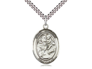 Sterling Silver St Anthony of Padua Pendant on a 24 inch Light Rhodium Heavy Curb Chain. - Unique Catholic Gifts