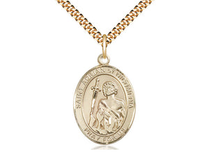 14kt Gold Filled St Adrian of Nicomedia Pendant on a 24 inch Gold Plate Heavy Curb Chain.  Medal Size - Unique Catholic Gifts