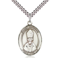Sterling Silver St Anselm of Canterbury Pendant on a 24 inch Light Rhodium Heavy Curb Chain. - Unique Catholic Gifts