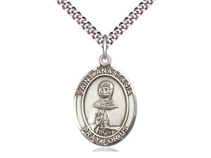 Sterling Silver St Anastasia Pendant on a 24 inch Light Rhodium Heavy Curb Chain. - Unique Catholic Gifts