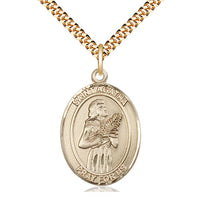 14kt Gold Filled St Agatha Pendant on a 24 inch Gold Plate Heavy Curb Chain. - Unique Catholic Gifts