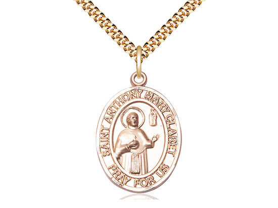 14kt Gold Filled St Anthony Mary Claret Pendant on a 24 inch Gold Plate Heavy Curb Chain. - Unique Catholic Gifts