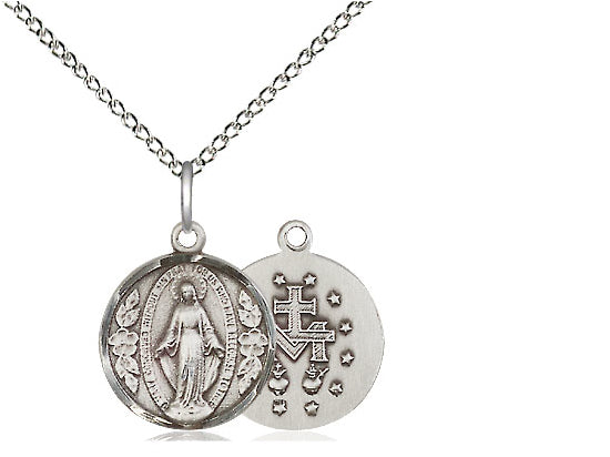 Sterling Silver Miraculous Pendant on a 18 inch Sterling Silver Light Curb Chain. - Unique Catholic Gifts