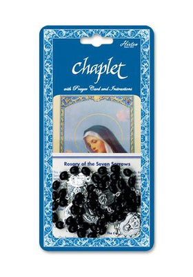 Seven Sorrows Deluxe Chaplet with Black Wood Beads and prayer Card - Unique Catholic Gifts