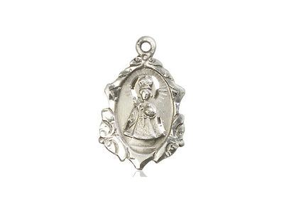 Sterling Silver Infant of Prague Pendant on a 18 inch Sterling Silver Light Curb Chain - Unique Catholic Gifts
