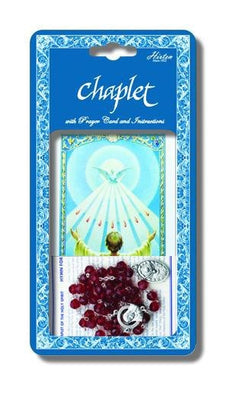 Holy Spirit Dleuxe Chaplet with Dark Red Glass Beads