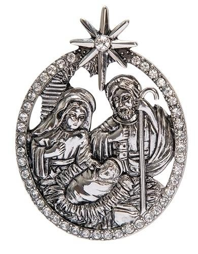 "Nativity Pin Silver and Rhinestone (2"") - Unique Catholic Gifts"