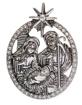Nativity Pin Silver and Rhinestone (2