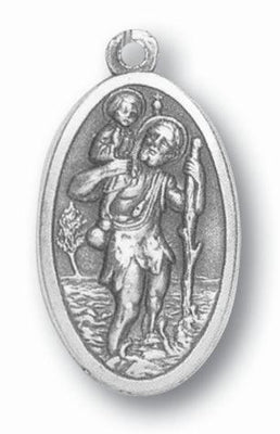 Large Oxidized Saint Christopher Medal - Unique Catholic Gifts
