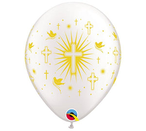 "11"" Cross Doves Gold on White Balloon - Unique Catholic Gifts"