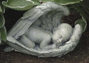 "7""H Sleeping Baby in Wings Garden Statue - Unique Catholic Gifts"