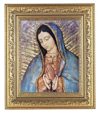 Our Lady of Guadalupe Print  in a Beautifully detailed Ornate Gold Leaf Antique Frame (Classic) - Unique Catholic Gifts