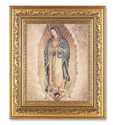 "Gold Our Lady of Guadalupe w/ Gold Background (12 1/2 x 14 1/2"") in Gold Leaf Antique Frame - Unique Catholic Gifts"