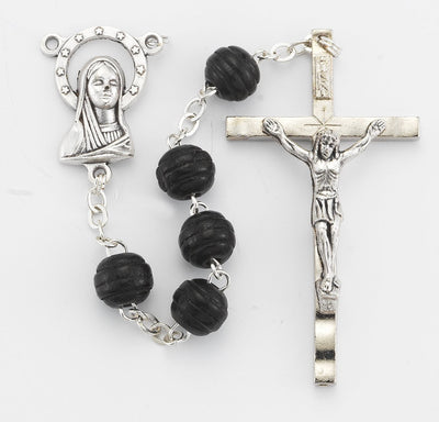 Black Wood Cut Rosary (8mm) - Unique Catholic Gifts