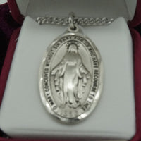 "Sterling Silver Miraculous Medal 1-1/2"" with  24 inch chain - Unique Catholic Gifts"