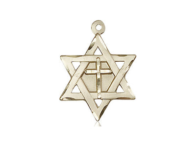 14kt Gold Filled Star of David w/ Cross Pendant on a 24 inch Gold Plate Heavy Curb Chain