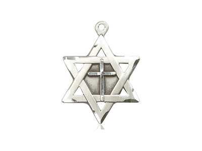Sterling Silver Star of David w/ Cross Pendant on a 24 inch Light Rhodium Heavy Curb Chain