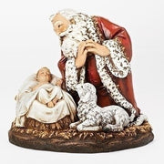 "Kneeling Santa with Sleeping Jesus and Lamb Statue (""8"")"