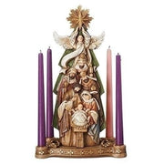 "Nativity Under a Angel Held Star Advent Candle Holder  (15"") - Unique Catholic Gifts"