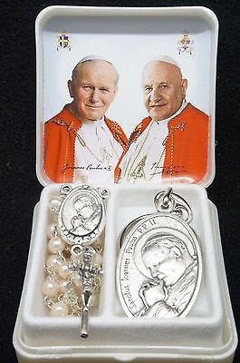 St John Paul II and St John XXIII Rosary and Keychain
