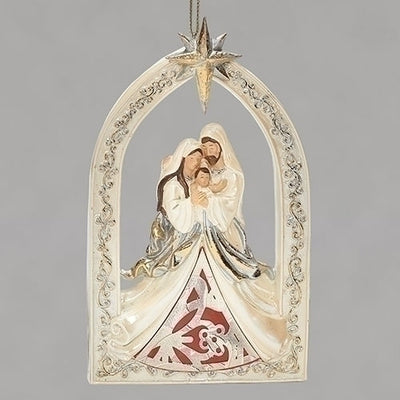 Holy Family Gold Leaf Papercut Red and Cream Ornament 5 1/2