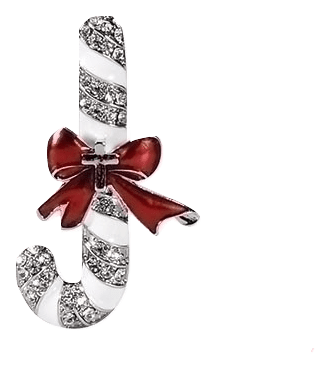 Silver Upside Down Candy Cane Pin - Unique Catholic Gifts