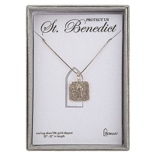 "22"" Ss Sq St Bene Neck-gld +2"" Ext/boxed - Unique Catholic Gifts"