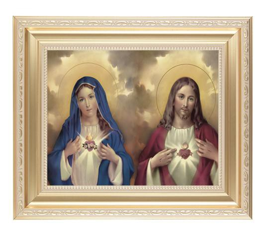 "The Sacred Hearts Framed in a Scroll work Satin Frame. (11 1/2 x 13 1/2"") - Unique Catholic Gifts"