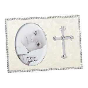 "Cross Picture Frame (3.75"") holds 2"" x 3"" picture - Unique Catholic Gifts"
