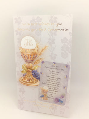 Celebrate your First Communion Card with Holy Card - Unique Catholic Gifts