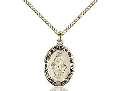 Gold Filled Miraculous Medal Pendant (3/4