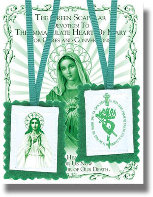 Plain Green  Scapular with Pamphlet - Unique Catholic Gifts