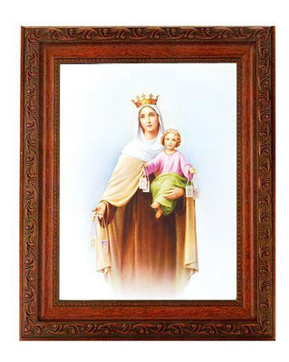 Our Lady of Mount Carmel in Mahogany Finished Antique frame.