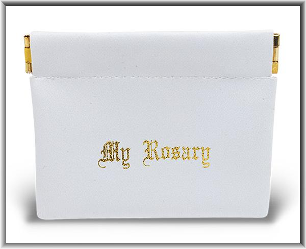 White Vinyl Leatherette Rosary Pouch (Sqeeze open and Snaps Closed) - Unique Catholic Gifts
