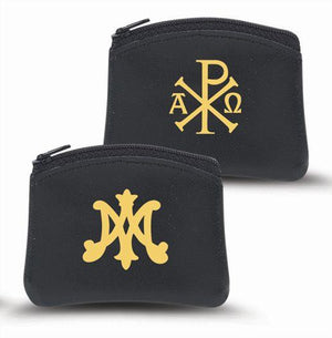 Black Soft Genuine Sheepskin Rosary Pouch - Unique Catholic Gifts