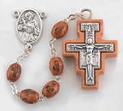 Franciscan Tau and San Damiano Rosary Brown Wood