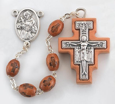 Franciscan Tau and San Damiano Rosary Brown Wood - Unique Catholic Gifts