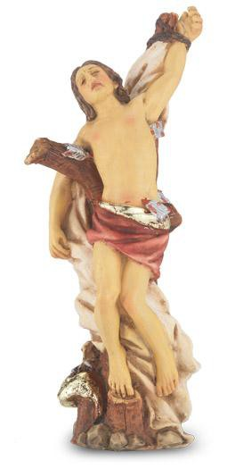 "Saint Sebastian Statue. Hand Painted Solid Resin 4"" - Unique Catholic Gifts"