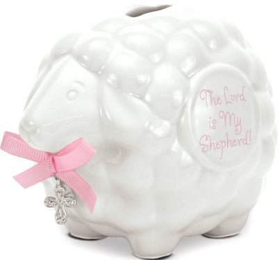 Pink Lamb Bank with Scripture (5 3/4