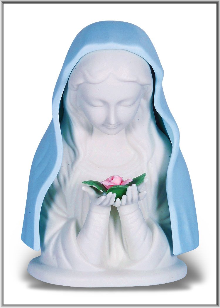 "7"" Madonna in Bisque and Pastel Colors Porcelain Nightlight - Unique Catholic Gifts"