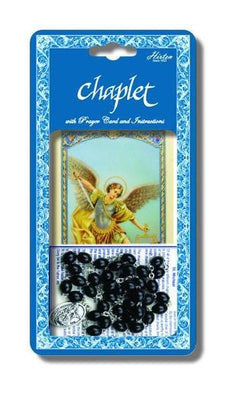 Saint Michael Deluxe Chaplet with Black Wood Beads.