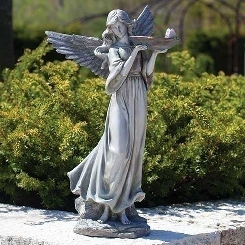 "20.25""H Angel W/bird Feeder & Butterfly Statue - Unique Catholic Gifts"