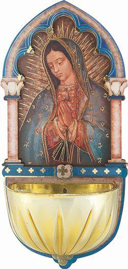 "Our Lady of Guadalupe Gold Embossed Laser Cut Multi-Dimensional Holy Water Font (5"") - Unique Catholic Gifts"