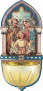 "Holy Family Gold Embossed Laser Cut Multi-Dimensional Holy Water Font (5"")"