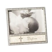 "Baptism Picture Frame with Rhinestone Cross (4 x 6"") - Unique Catholic Gifts"